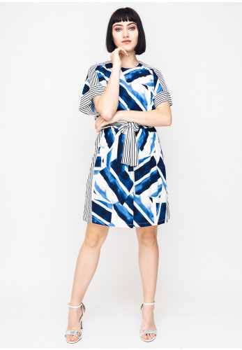 Maggy London Geo & Stripe Print Jersey Dress, Blue Multi