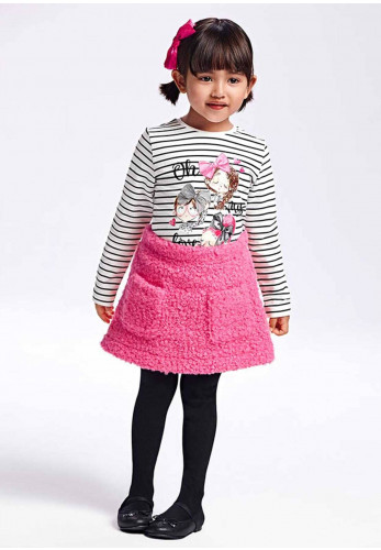 Mayoral Girls Top and Skirt Set, White & Pink