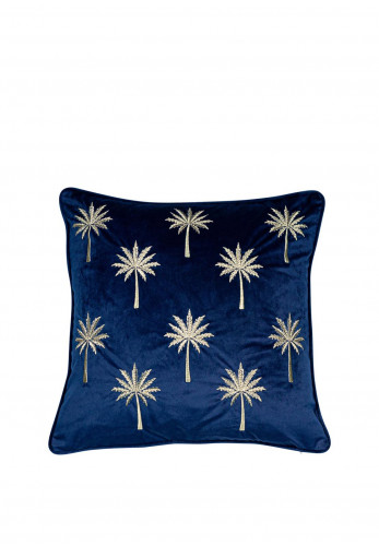 Malini Miami Feather Filled Velvet Embroidered Cushion, Cobalt Blue