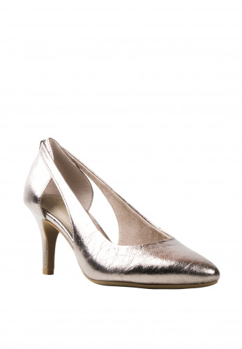 Marco Tozzi Open Sides Metallic Court Shoe, Pewter