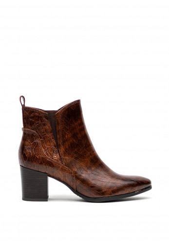 Marco Tozzi Faux Croc Leather Block Heel Ankle Boots, Brown