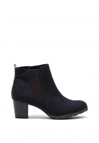 Marco Tozzi Faux Suede Block Heel Ankle Boots, Navy