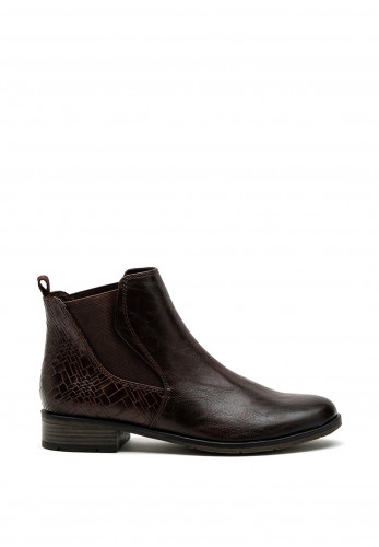 Marco Tozzi Faux Leather Textured Heel Chelsea Boot, Brown