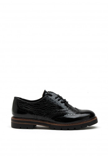 Marco Tozzi Patent Chunky Sole Textured Brogues, Black