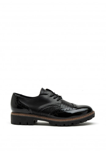 Marco Tozzi Chunky Sole Faux Leather Brogues, Black