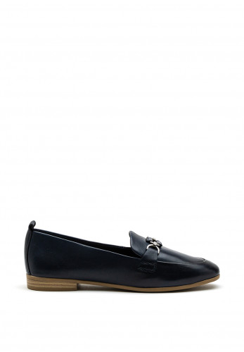 Marco Tozzi Leather Buckle Slip On Shoe, Navy