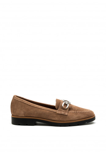 Marco Tozzi Leather Suede Buckle Loafers, Taupe