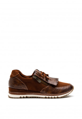Marco Tozzi Fringe Bow Trainer, Brown
