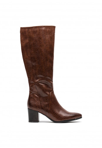 Marco Tozzi Faux Croc Print Knee High Boots, Brown