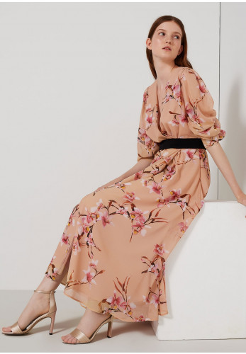 Marella Floral Wrap Bodice Maxi Dress, Peach