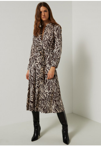 Marella Timo Zebra Print Satin Dress, Brown & Cream