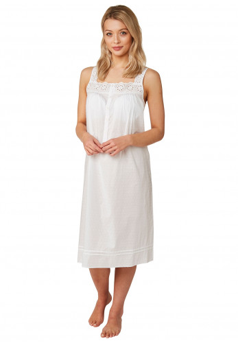 Marlon Broderie Anglaise Cotton Nightdress, White