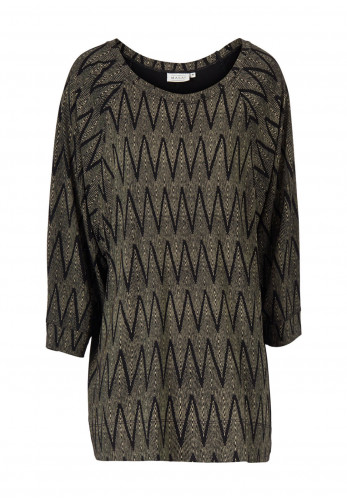Masai Bonnie Chevron Print Oversize Top, Black Multi
