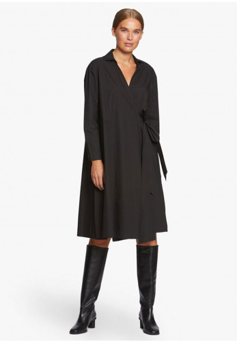 Masai Nessa Wrap Over Cotton Midi Dress, Black