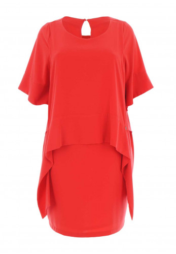 Mat Asymmetric Overlay Shift Dress, Red