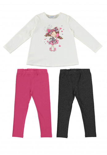 Mayoral Girls 3 Piece Top and Leggings Set, White Mix