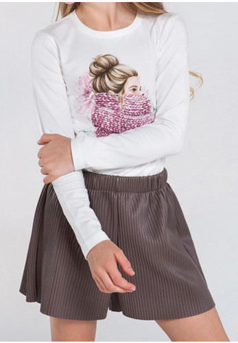 Mayoral Girls Faux Leather Shorts, Brown