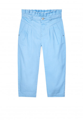 Mayoral Girls Slouchy High Waisted Trousers, Sky Blue