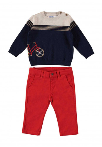 Mayoral Baby 2 Piece Jumper and Chino Set, Red