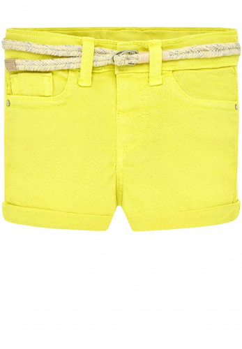 Mayoral Baby Girls Belted Denim Shorts, Yellow