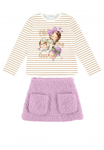 Mayoral Girls Top and Skirt Set, White & Lilac