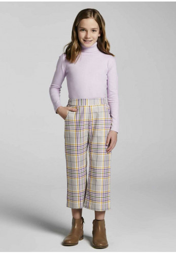 Mayoral Cropped Check Trousers, Lilac Mix