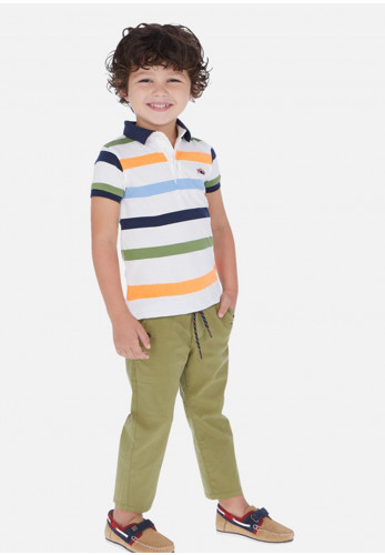 Mayoral Boys Rib Elasticated Trousers, Green