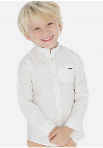 Mayoral Boys Grandad Collar Shirt, White