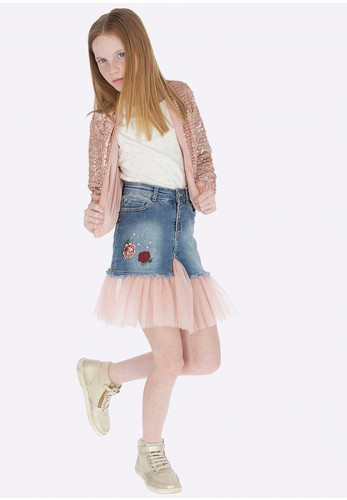 Mayoral Girls Denim Skirt With Pink Hem Netting