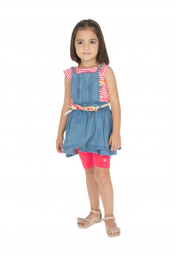 Mayoral Girls Chambray Denim Dungaree Dress, Blue