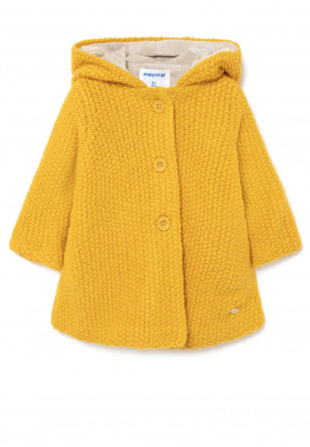 Mayoral Baby Woven Hooded Knit Cardigan, Mustard
