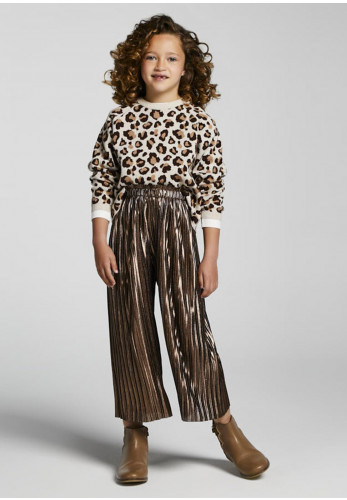 Mayoral Pleated Metallic Culottes, Brown