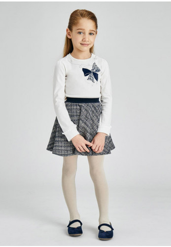 Mayoral 2 Piece Tweed Skirt and Top Set, White Navy