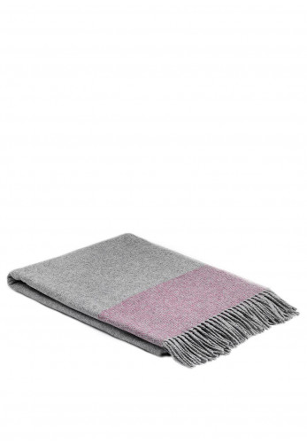 McNutt of Donegal Cashmere & Lambswool Throw, Raspberry & Silver