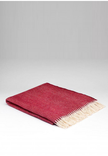 McNutt of Donegal Soft Lambswool Herringbone Throw, Spotted Cranberry