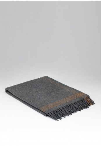 McNutt of Donegal Cashmere Lambswool Throw, Orange & Steel