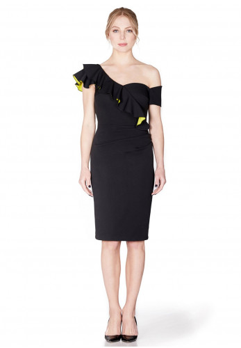 Mellaris Calypso Ruffle Trim Pencil Dress, Black
