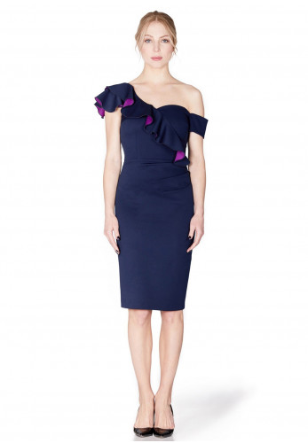 Mellaris Calypso Ruffle Trim Pencil Dress, Navy