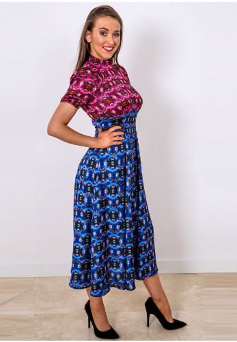 Mellaris Slow Dance Colour Block Midi Dress, Blue & Pink