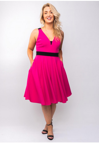 Mellaris Rayley Flared Dress, Hot Pink