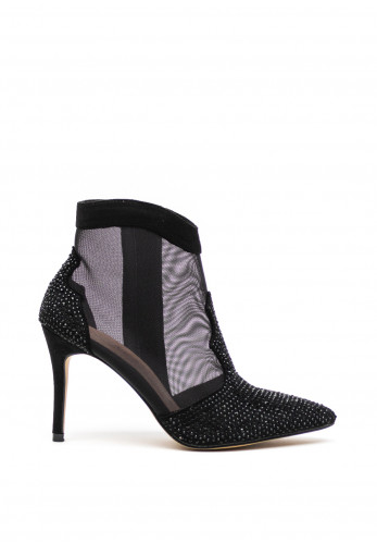 Menbur Diamante High Heel Ankle Boots, Black