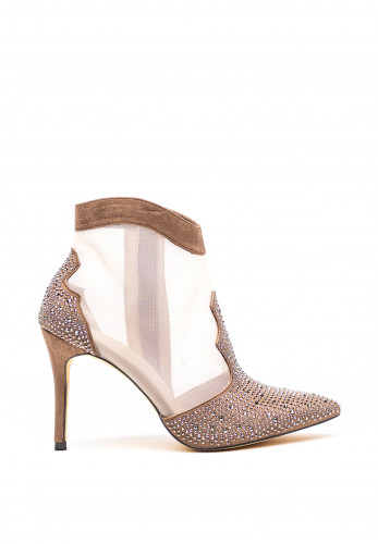 Menbur Diamante High Heel Ankle Boots, Taupe