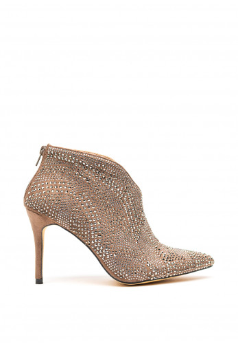 Menbur Diamante High Cut Ankle Boots, Taupe