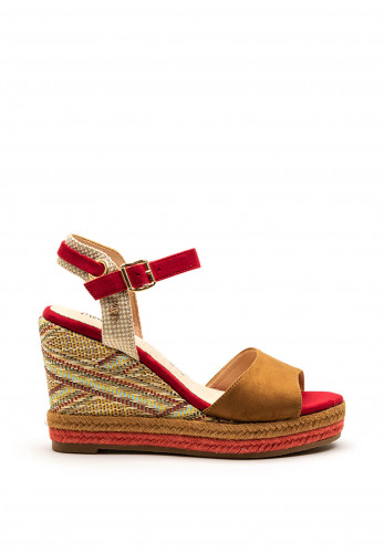 Menbur Suede Straps Woven Wedge Sandal, Red Multi