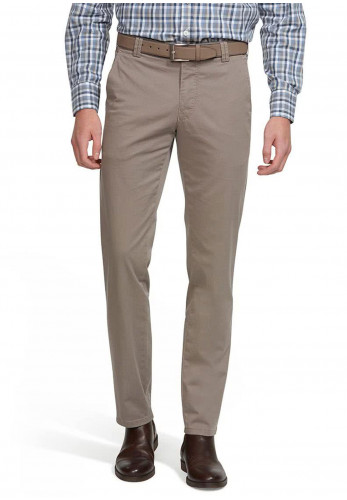 Meyer Mens Roma Super-Stretch Belted Trousers, Taupe