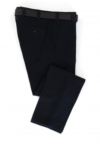 Meyer Men's Roma Belted Corduroy Trousers, Navy
