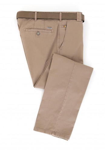 Meyer Men's Non-Fade Roma Belted Trousers, Brown