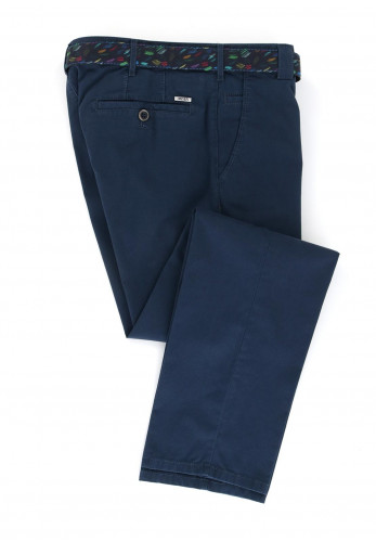 Meyer Men's Roma Belted Trousers, Navy Blue