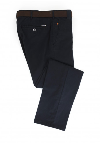 Meyer Mens Roma Super-Stretch Belted Trousers, Navy