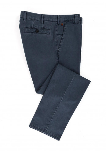 Meyer Mens New York Pure Organic Cotton Trousers, Washed Navy